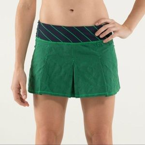 Lululemon Fast Cat Skirt Green Bean Inkwell Stripe